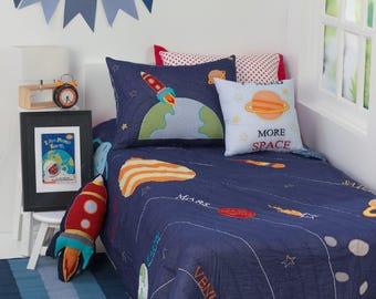 blast off kids bedding set kid room decor solar system rocket spaceship kid room boy bedding free personalization - Boy Bedding