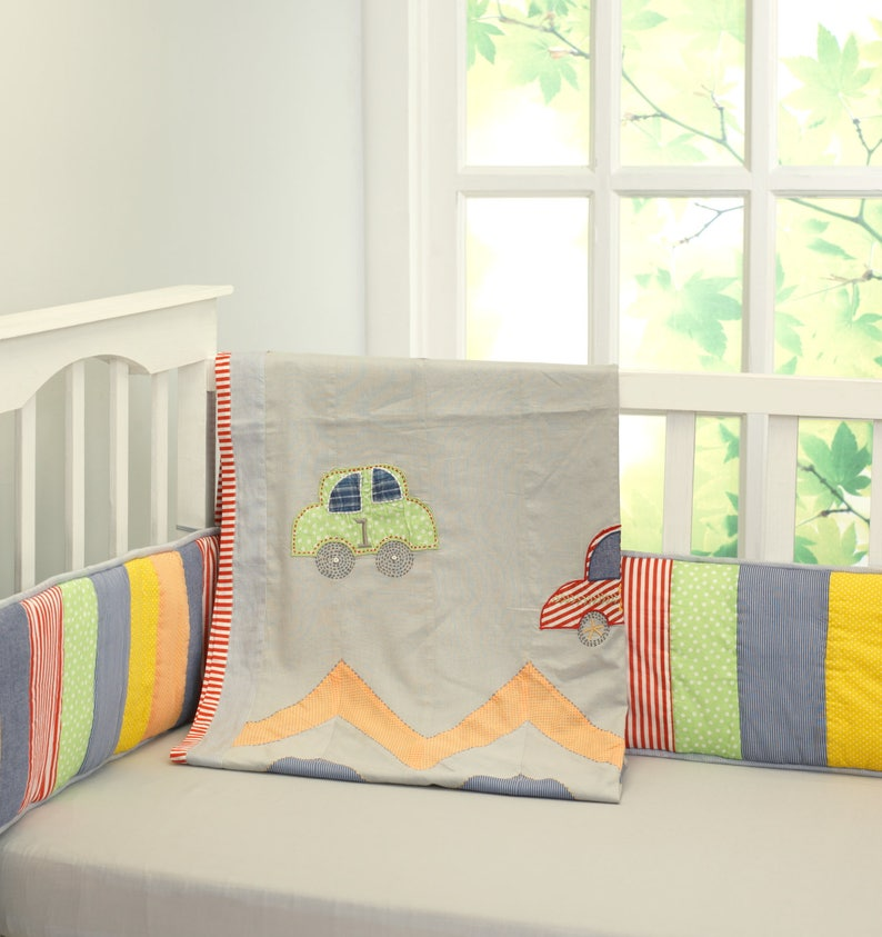 Free Personalization Baby Boy Grey Red Green Crib Blanket Vintage Cars Kantha Baby Blanket and Toddler Duvet Cover