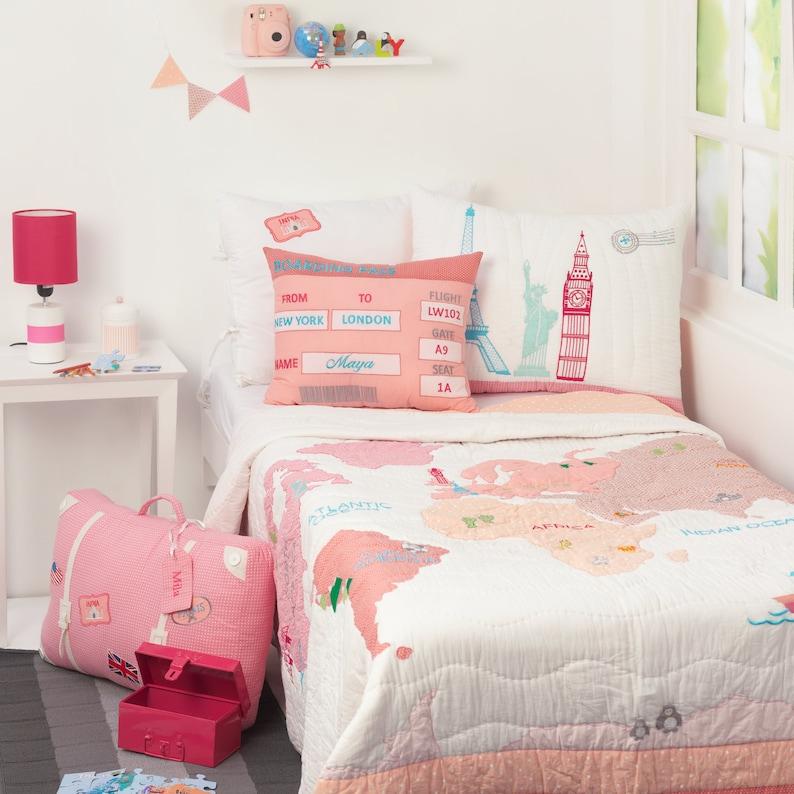 Um Die Welt Rosa Kinder Bettwäsche Set Kind Raum Dekor Etsy