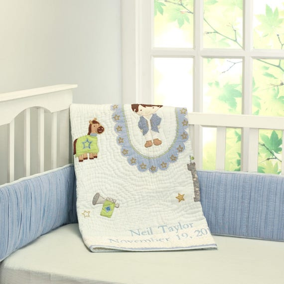 Royalty Little Prince Baby Quilt Baby Boy Blue Stripes