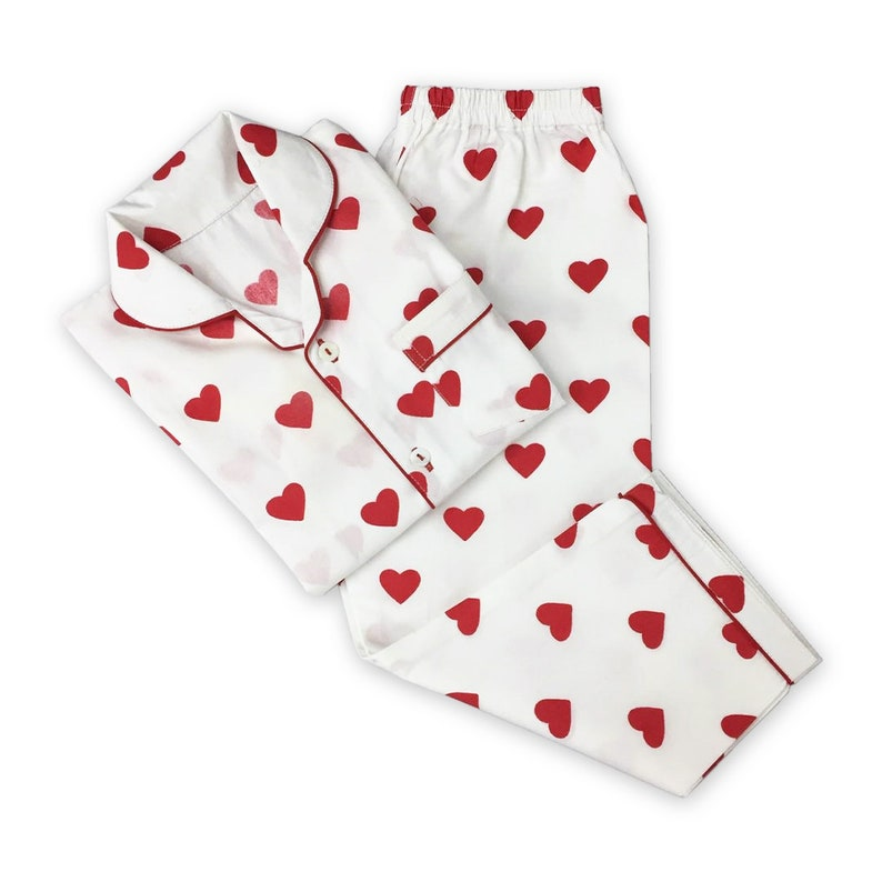 Women Pajama Set  Red Hearts Love Luxury Nightwear PJs image 0