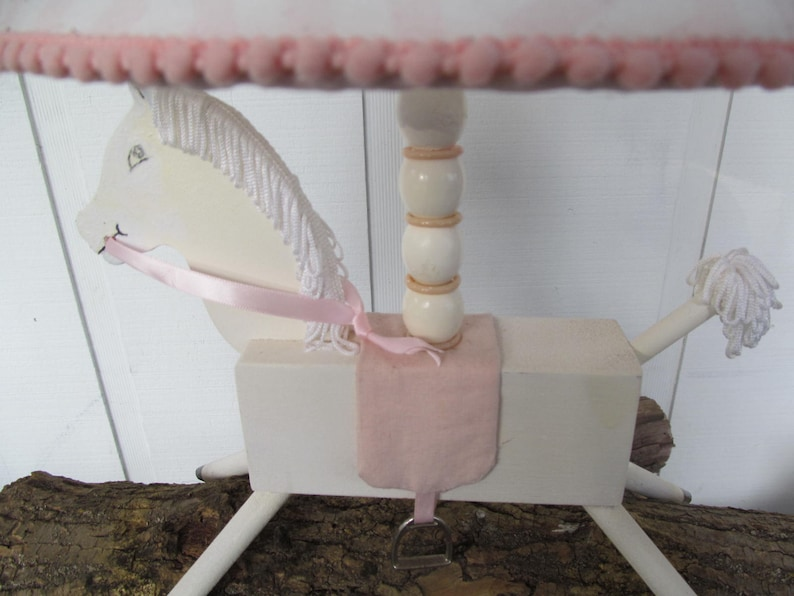 Incredibly Adorable Vintage Pink /& White Wooden Primitive Horse Nursery Lamp w Embellished Shade 17 Tall 1950s Perfect Nursery Decor!