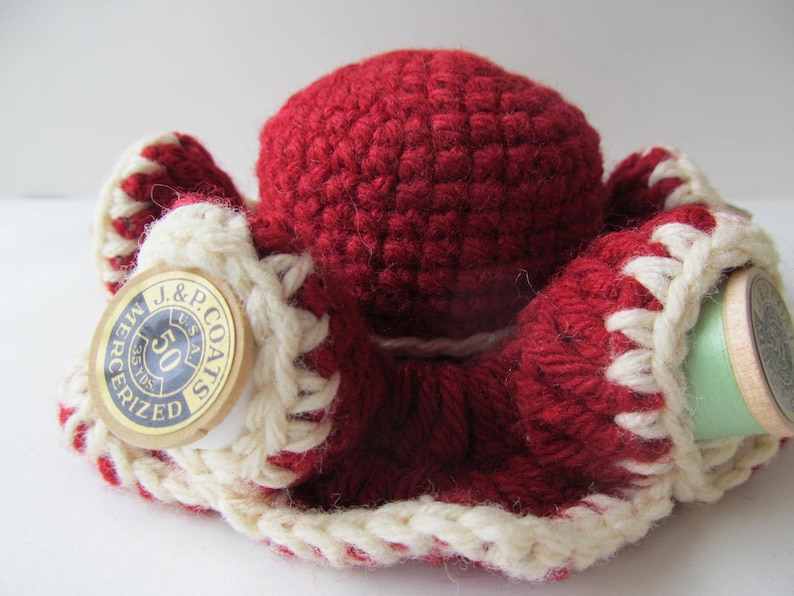 Hand-Crocheted with Six Spools of Thread Great Seamstress Choice of Two Colors Crafter Gift Darling Pin Cushion  Thread Cozy More!