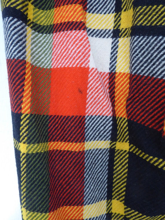Trippy Orange Black, Yellow and Cream Plaid Wool … - image 5