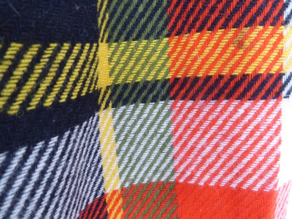 Trippy Orange Black, Yellow and Cream Plaid Wool … - image 6