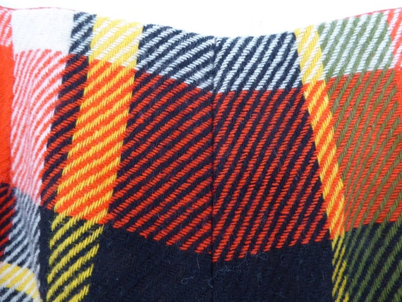 Trippy Orange Black, Yellow and Cream Plaid Wool … - image 3