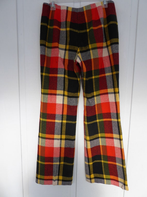 Trippy Orange Black, Yellow and Cream Plaid Wool … - image 8