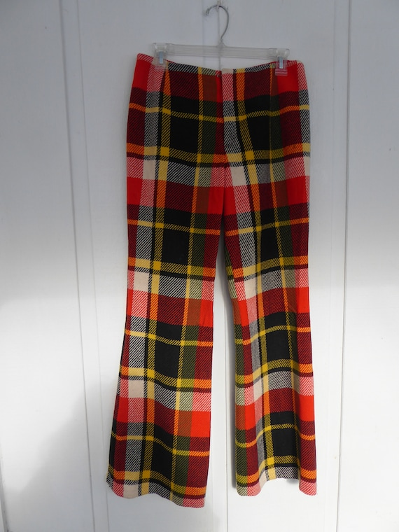 Trippy Orange Black, Yellow and Cream Plaid Wool … - image 1