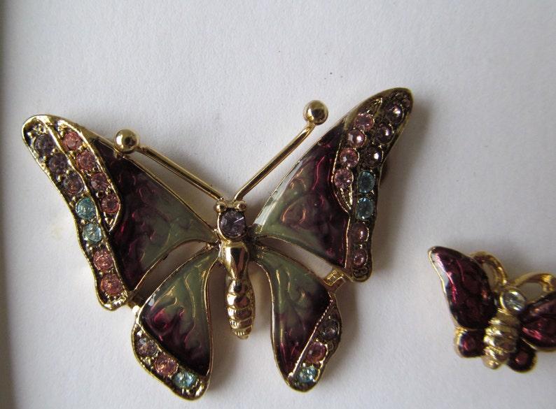 5f89c559b Classic Enameled Butterfly Pin / Brooch Set w/ Crystal   Etsy
