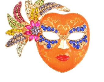 Mardi Gras Halloween Mask Masque pin brooch crystals not Heidi Daus shipping only to USA 48 states