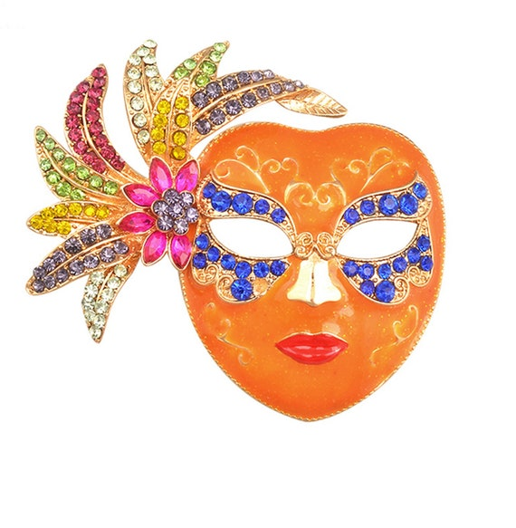 Mardi Gras Masked Brooch Pin