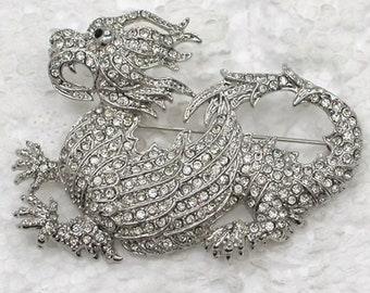 Dragon Brooch Pin Crystal unsigned famous designer NWOT statement piece  shipping only to USA 48 states