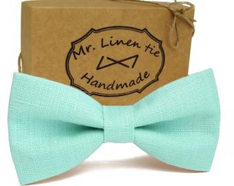 425ba4bc9048 Mint color bow tie, linen bow tie, wedding necktie, linen necktie, groomsmen  necktie,mint necktie necktie, bow tie for men,mint color ties.