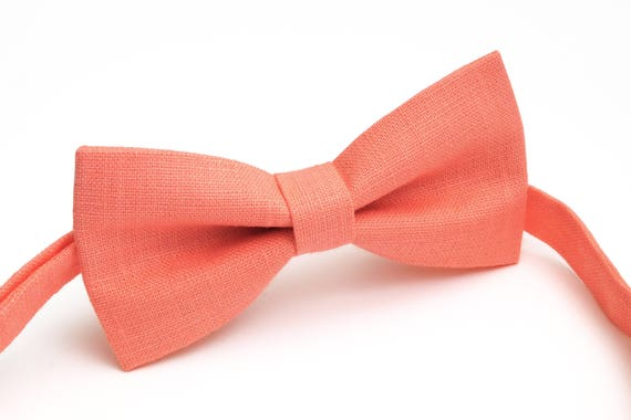 linen necktie neckt bow tie for men wedding necktie groomsmen necktie Salmon  color   linen bow tie