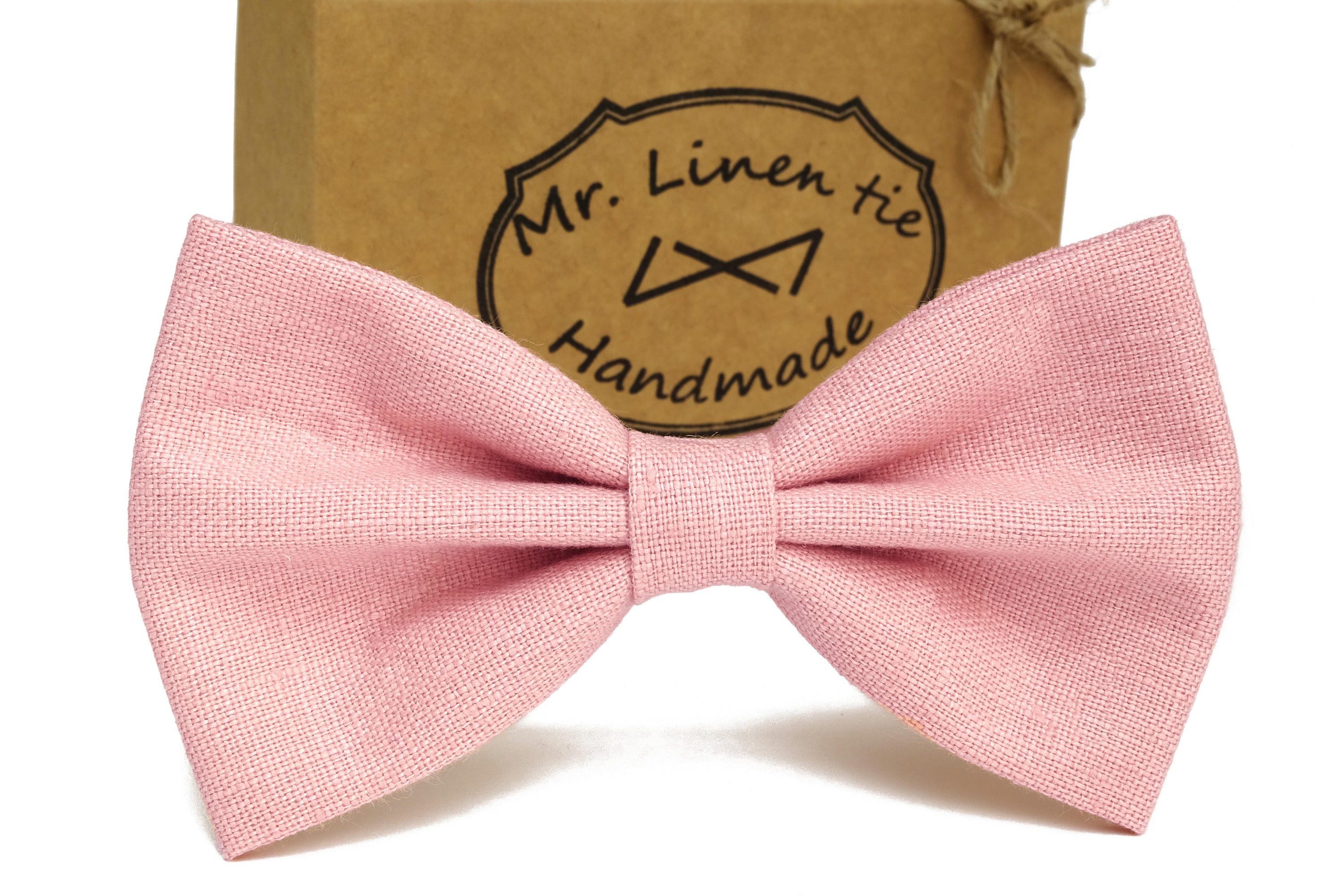 f21539a57d5a Light pink bow tie linen bow tie wedding necktielight pink | Etsy