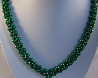 Green Pearl Necklace, Crystal Necklace, Metal Free Necklace, Birthday Gift, Anniversary Gift, Woven Necklace