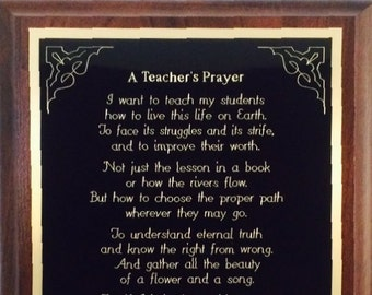 "7x9"" Teacher's Prayer Plaque - Can be Personalized - Wonderful Gift !"