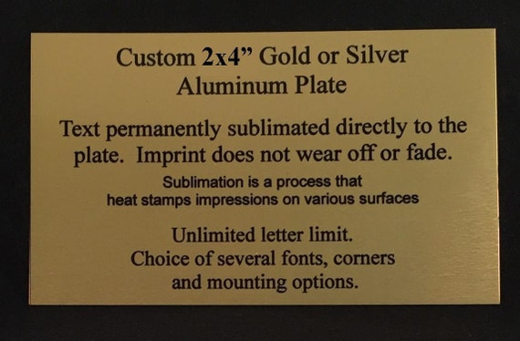 2x4 or 1x3 GOLD SILVER Custom Engraved Brass Plate Sublimation Plaque