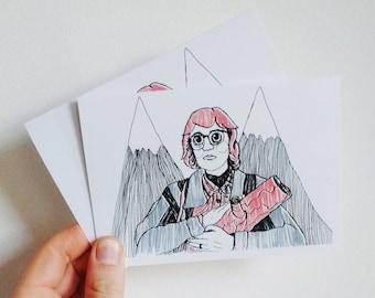 Log Lady Greetings Card - Twin Peaks Card - Landscape - Twin Peaks - Cards - Log Lady - Dale Cooper - David Lynch -