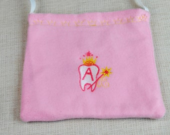 Tooth fairy bag Pink color bag Fairy bag with a pocket Embroidered tooth fairy bag Customize tooth fairy bag Personalized bag Girl's bag