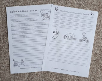 SPANISH 3 set Handwriting Set: Kingdom Songs, Scriptures and Bible Facts Español