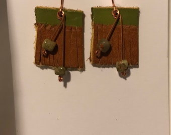 Leather and copper dangle earrings