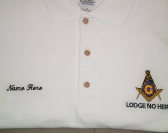706943f2 Mason Masonic embroidered polo. Custom with your Lodge info and name SMALL  - 3XL