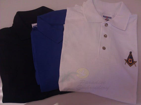 MASON MASONIC EMBROIDERED POLO SHIRT WITH LODGE INFO AND NAME,MADE IN USA