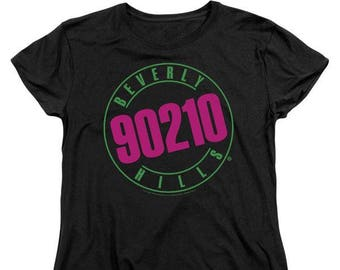 90210 - Cast and Logo Short Sleeve Women's T-Shirts Remake Popular Hit TV Show Pink Black Blue