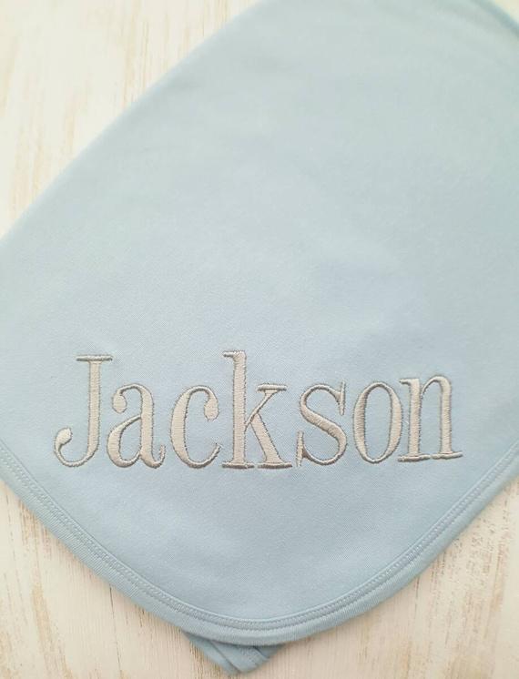Personalizado Bebé Manta de recepción de algodón color Azul Cualquier Nombre Regalo Recuerdo