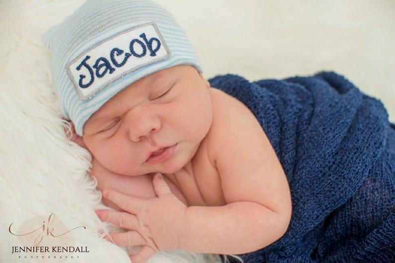 8e002785a0f Newborn Boy Personalized Hospital Hat boy hospital hat baby
