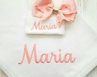 Personalized baby girl blanket and hospital hat- peach and gold, receiving blanket, newborn hospital hat, embroidered blanket, 30x40 in