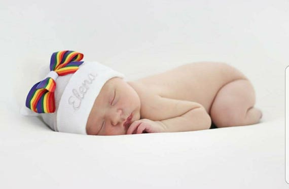 615be15c707 Personalized Newborn girl hospital hat rainbow bow rainbow