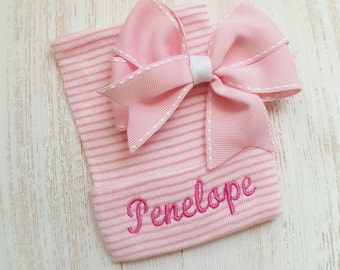 Newborn girl personalized hospital hat- baby girl hospital hat, baby girl hat, newborn beanie, hat baby girl, pink hospital hat, newborn hat