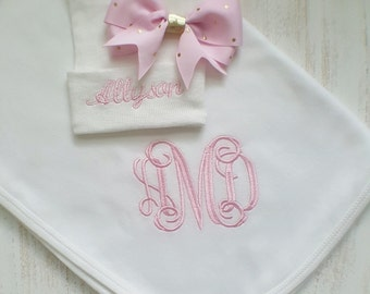 Personalized baby girl blanket and hospital hat- pink and gold, receiving blanket, newborn hospital hat, embroidered blanket, 30x40 in