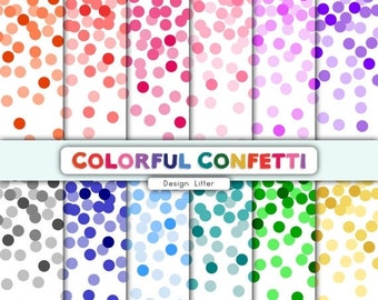 80% Until New Year - Confetti digital paper Confetti clipart Confetti PNG Colorful confetti backgrounds for birthday party and scrapbooking