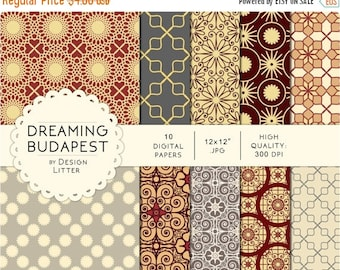 80% Until New Year - Dreaming Budapest digital paper by city: brown romantic scrapbook paper, cream lace effect and flowers background · ins