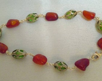 Amber and Green Glass Sterling Silver Bracelet