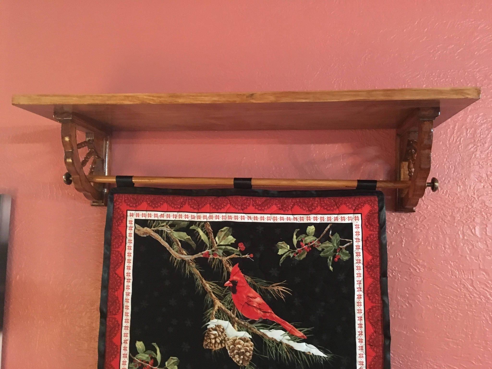 Custom Quilt Display Shelf Metal Scroll Bracket Wall Hanging