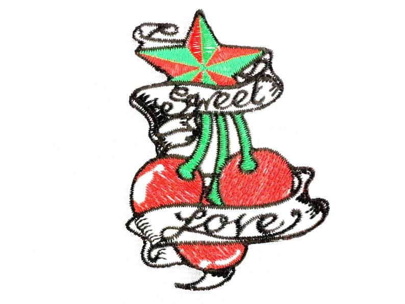 "Skull Cherries Cherry Rockabilly Biker Big XL Embroidered Back Jacket Patch 10/"""