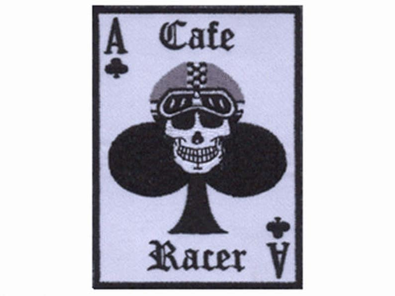 Cafe Racer Ace Club Motorbike Sew Iron On Embroidered Shirt Jacket Badge Patch