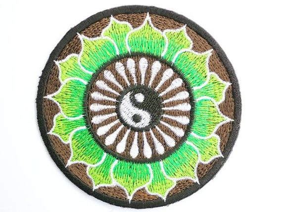 Green Lotus Flower Yin Yang Hippy Embroidered Iron On Patch Etsy