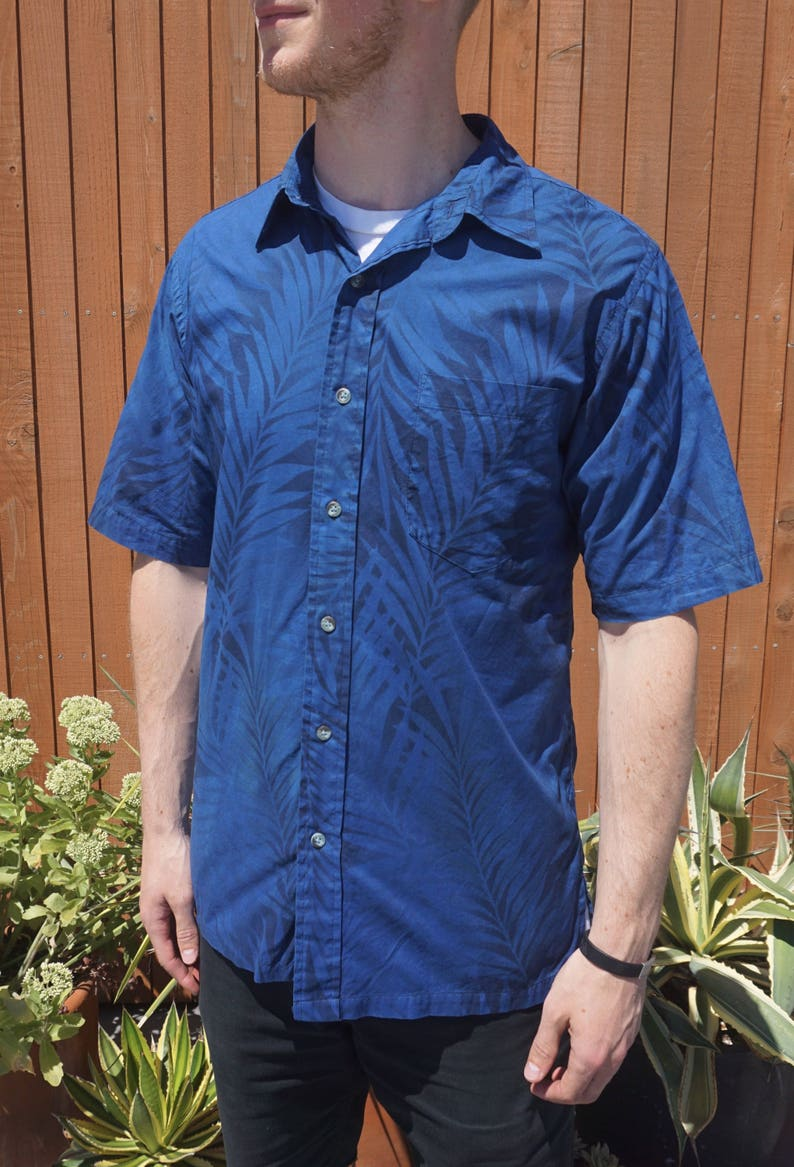 41905b99c155 Men's Hawaiian Indigo Overdyed Button-up Shirt. Summer | Etsy