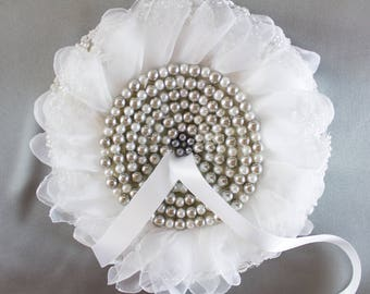 Ring pillow for wedding ceremony, wedding pillow, ring pillow made with pearl, lace, taffeta, ribbon and stuffed.