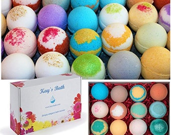 12 Bath Bomb Fizzy Gift Set w/ Shea & mango butter fizzies Assorted Scents 2.5 oz By Kays Bath