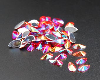 Hisenlee 100pcs Acrylic crystal water drop shape Teardrop 8X13mm faceted  Light Siam AB Handmade silver back rhinestones applique Decoration 942291d7274c