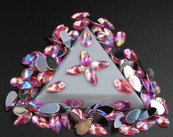 Hisenlee 100PCS 8x13mm Drop Shape Light Pink AB Acrylic Rhinestone Glue On  Flat Back Fancy Crystal Stones For Clothing Dress Decorations fc95d8e95452