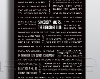 Breakfast Club Movie Quotes Poster A4 | Etsy
