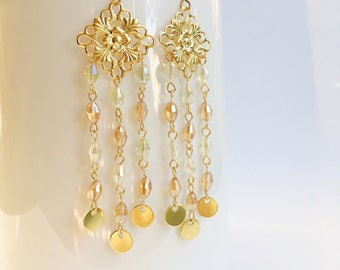 Filigree Chandelier Earrings, Crystal Chandelier Earrings, Disc Earrings