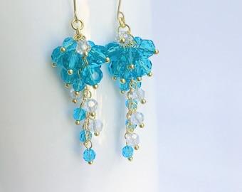 Blue Waterfall Earrings, Cluster Earrings, Dangle Earrings, Summer Earrings